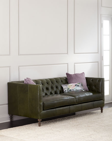 Teighlor Tufted Leather Sofa