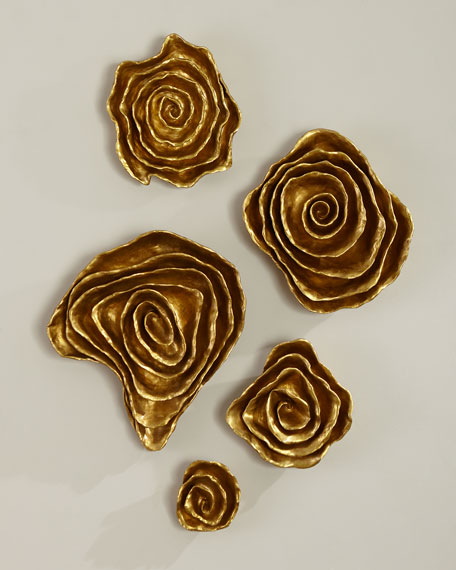 Jamie Young Freeform Floral Wall Plaques - Golden