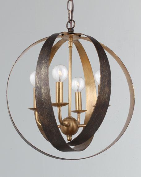 Luna 4-Light Bronze Gold Sphere Mini Chandelier