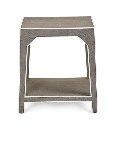Winter Faux-Shagreen Side Table