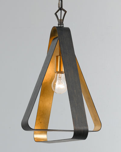 Luna 1-Light Bronze and Gold Mini Chandelier
