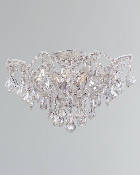 Maria Theresa Hand-Cut 5-Light Clear Crystal Semi Flush