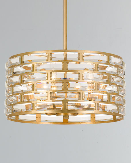 Meridian 6-Light Antiqued Gold Chandelier