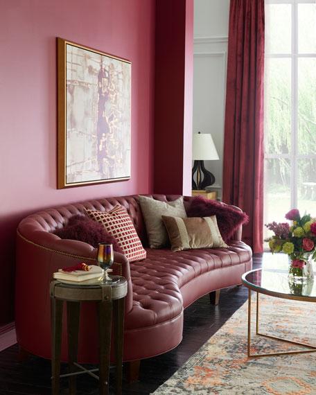 Magnolia Oxblood Tufted Leather Sofa