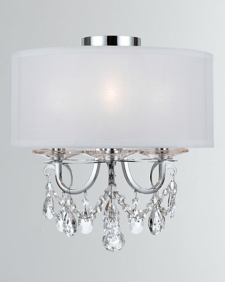 Othello 3-Light Clear Crystal Polished Chrome Mini Chandelier with Drum Shade