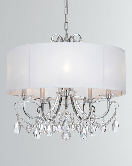 Othello 5-Light Clear Crystal Polished Chrome Chandelier with Drum Shade
