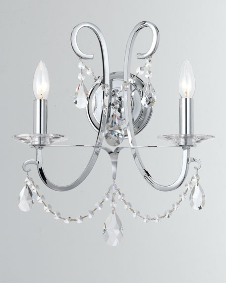 Othello 2-Light Crystal Polished Chrome Sconce