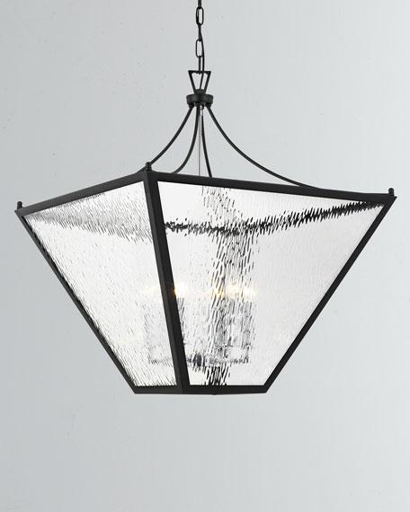 Park Hill 6-Light Matte Black and Polished Chrome Large Lantern