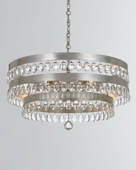Perla 8-Light Antiqued Silver Chandelier