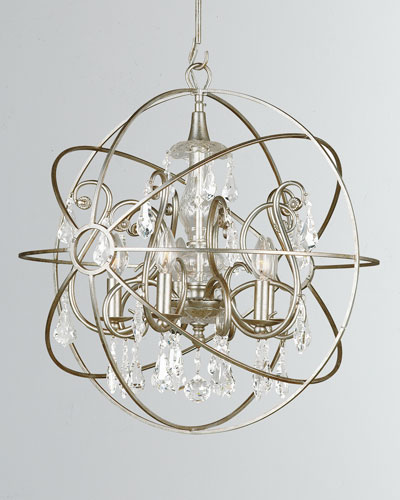 Solaris 5-Light Crystal Silver Sphere Chandelier