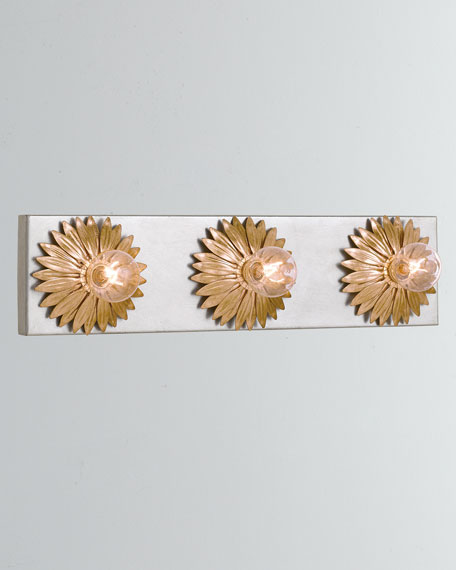 Broche 3-Light Antiqued Gold and Silver Bathroom Vanity
