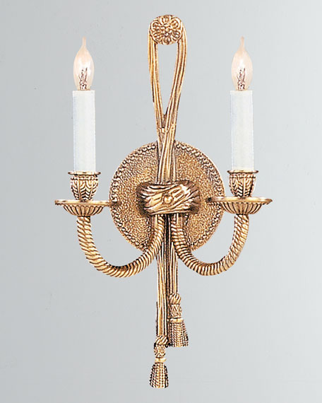 2-Light Olde Cast Brass Wall Mount
