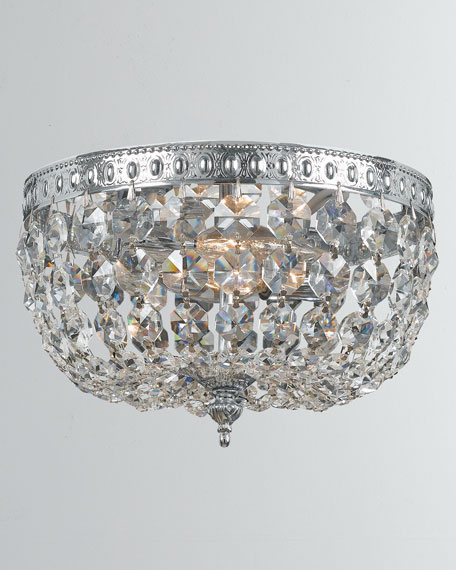 2-Light Clear Crystal Chrome Ceiling Mount