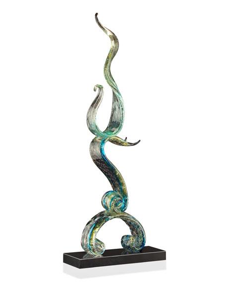 Aqua Ribbons of Glass Sculpture
