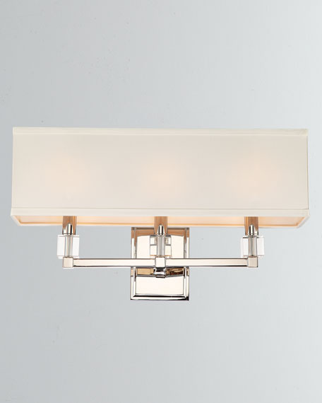 Dixon 3-Light Polished Nickel Sconce with Shade