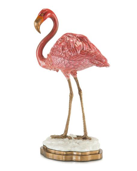 Pink Porcelain Flamingo Statue