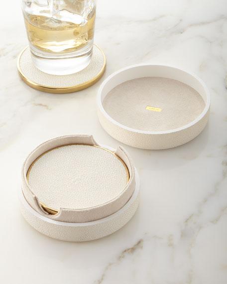 AERIN Faux Shagreen Coasters - Cream, Set of