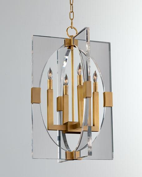 Graphic-Frame Four-Light Pendant