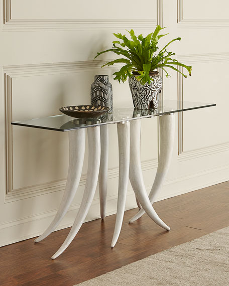 Bernhardt Livingston Glass-Top Console Table
