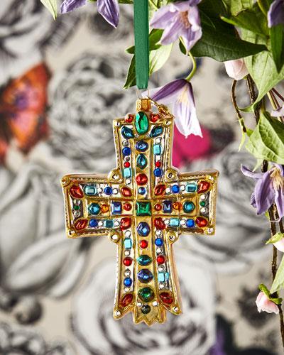 Embellished Gold Cross Christmas Ornament