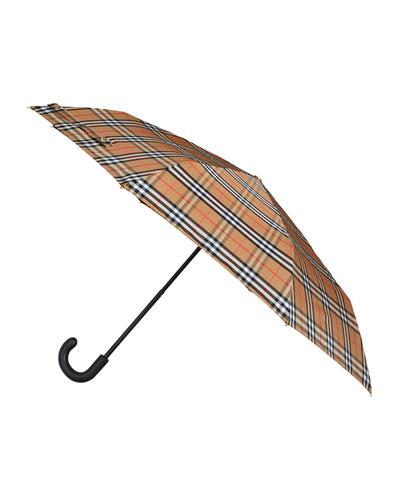 Packable Vintage Check Umbrella
