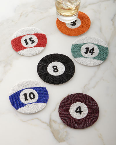 Pool/Billiards Cue Ball Coasters, 6-Piece Set