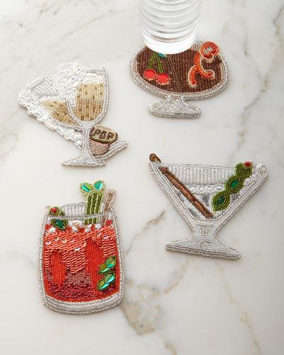 Happy Hour Beaded Cocktail Coasters, 4-Piece Set