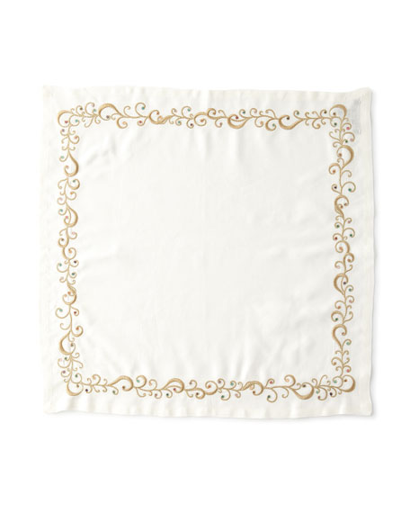 Kim Seybert Ritz Embroidered Linen Napkin, White/Metallic