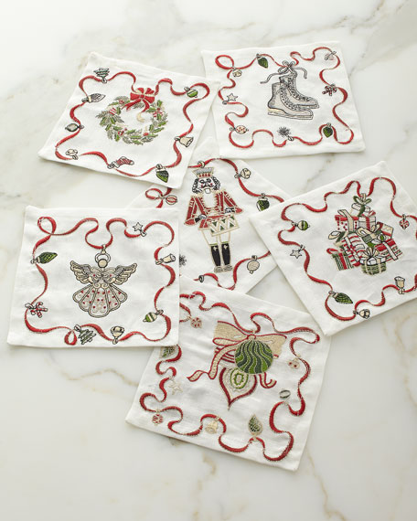 Kim Seybert Christmas Charm Cocktail Napkins, Set of