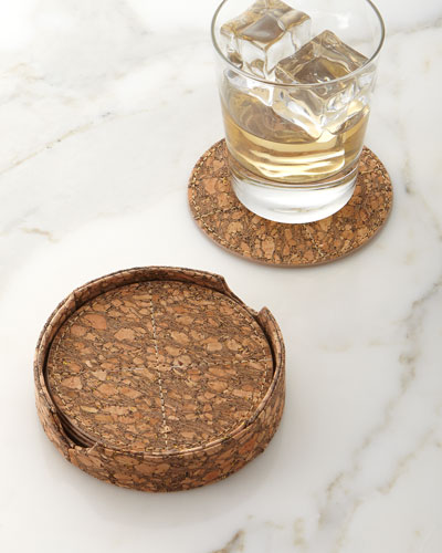 Metallic-Flecked Cork Coasters, 6-Piece Set