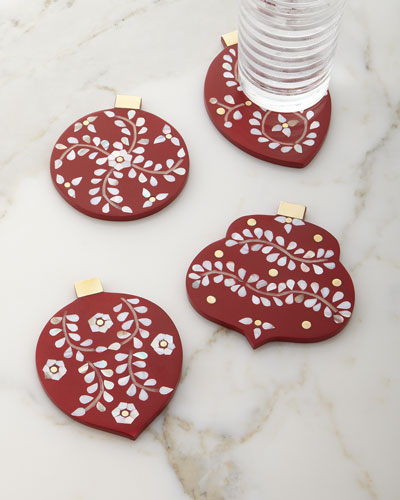 Christmas Ornament Coasters, 4-Piece Set