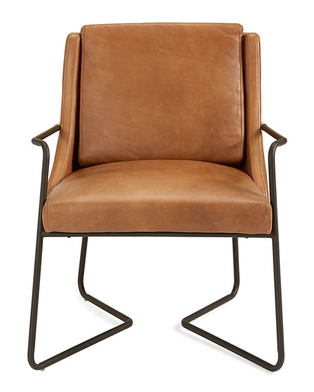Arthur Leather Chair with Metal Frame