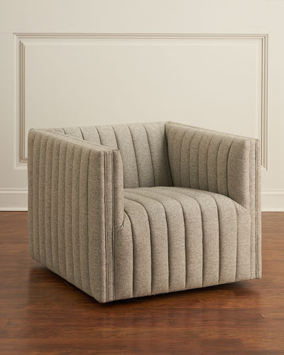 Burdett Channel Tufted Swivel Chair