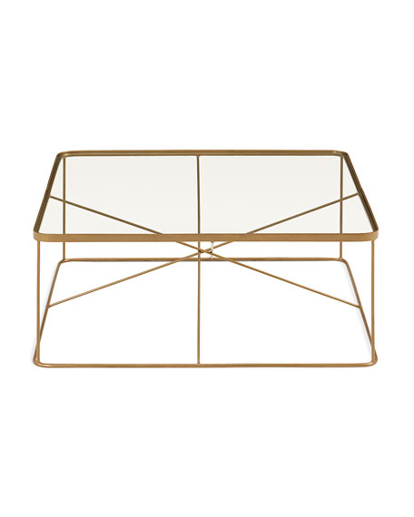 Lockner Metal & Glass Square Coffee Table