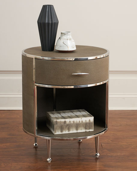 Ming Faux-Shagreen Round Night Stand