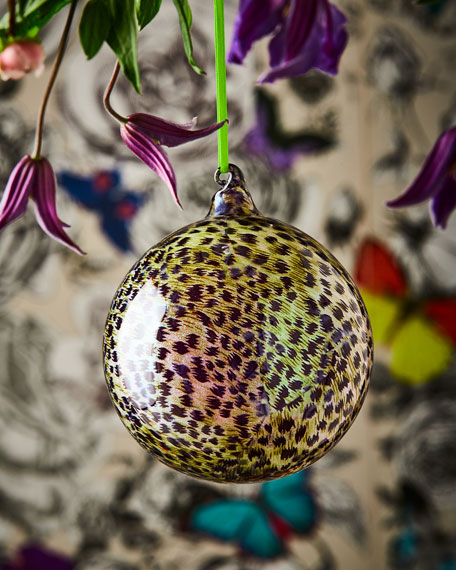 Metallic Leopard-Print Ball Ornament