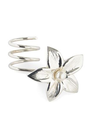 Nomi K Silver Flower Vine Wrapped Napkin Ring