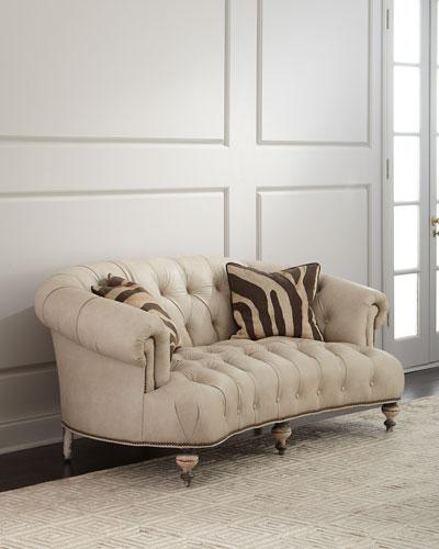 Xantha Tufted Leather Sofa