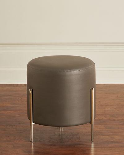 Betina Faux-Leather Round Ottoman/Stool
