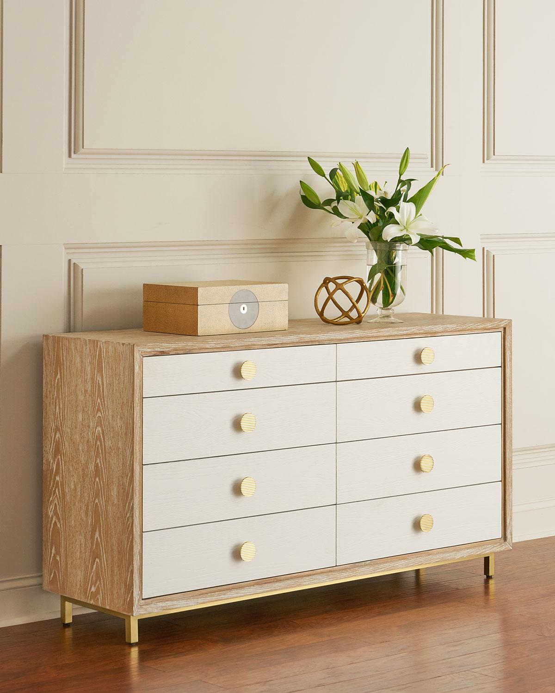 Interlude Homemarisa Whitewash 8 Drawer Dresser