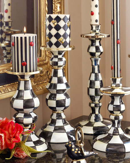 MacKenzie-Childs Courtly Check Large Pillar Candlestick