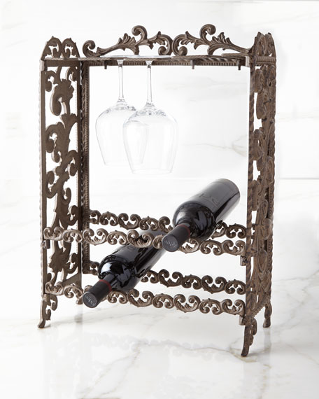 G G Collection Metal Acanthus Leaf Wine Rack