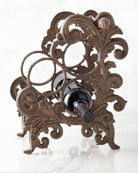 G G Collection Metal Acanthus Leaf Three-Bottle Wine
