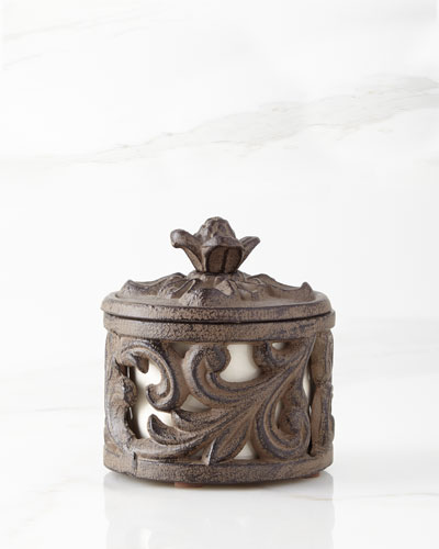 Ceramic Cup with Metal Acanthus Leaf Holder