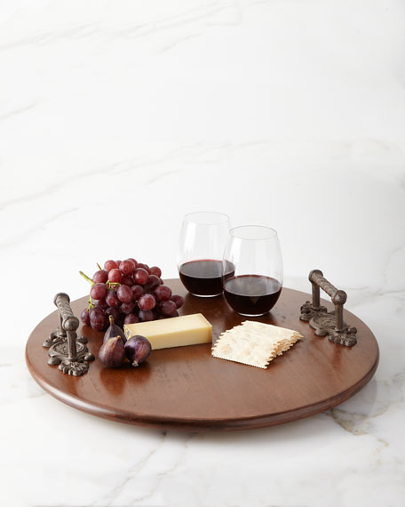 G G Collection Wood Lazy Susan with Metal