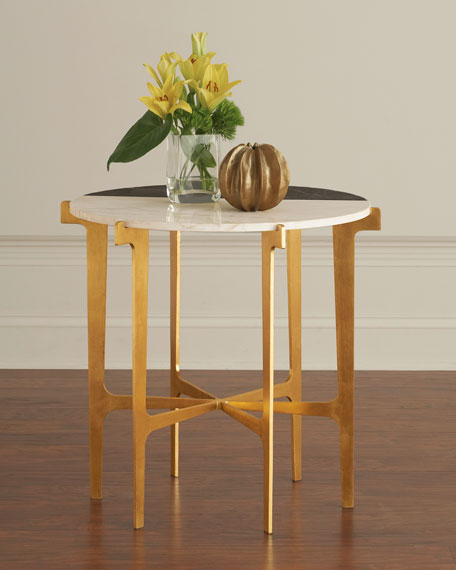 Yin Marble & Gold Leaf Side Table