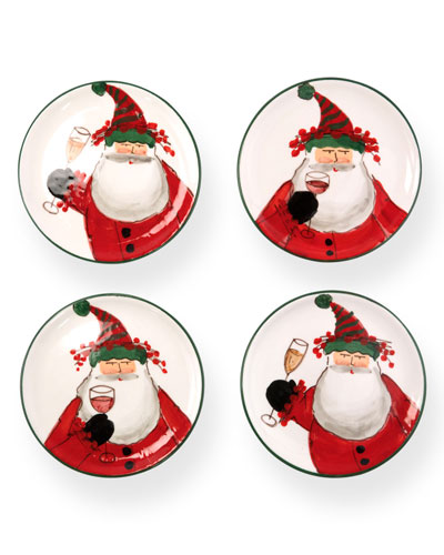Old St. Nick Cocktail Plates, Set of 4