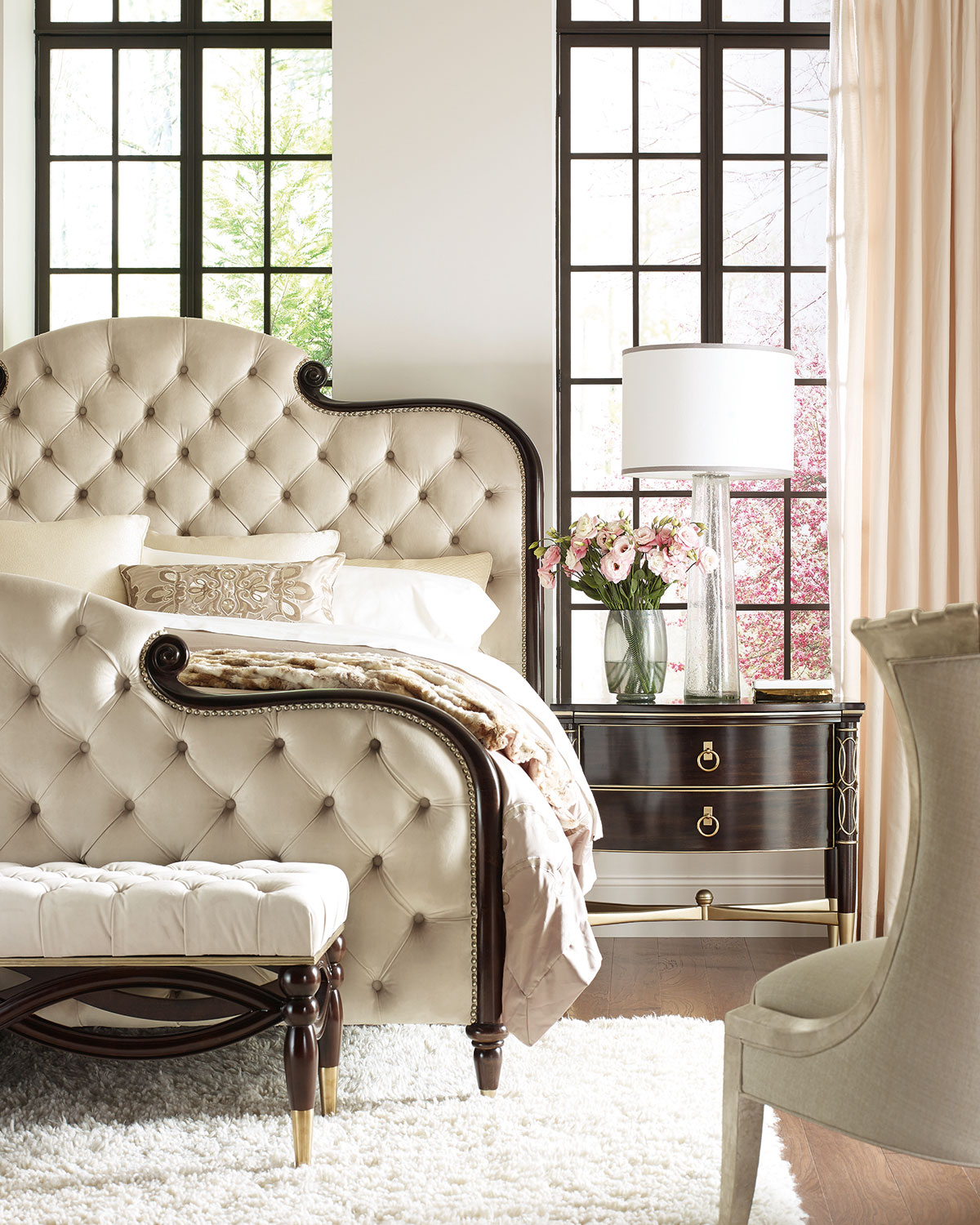 caracole everly upholstered  tufted queen bed  neiman marcus