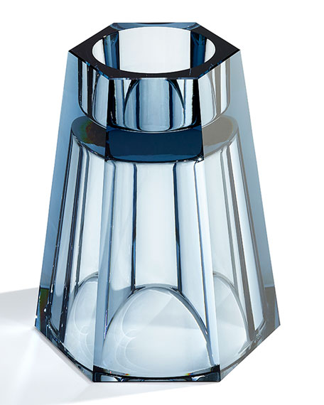 Medium Reversible Crystal Vase, Blue