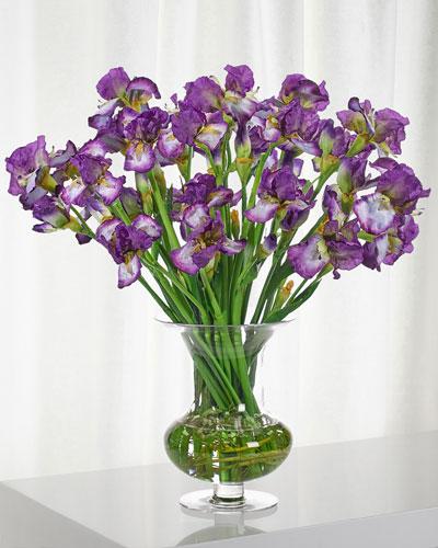 Iris Floral Arrangement in Purple Glass Urn